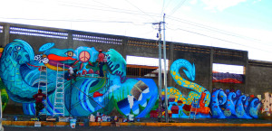 Mural collaboration with community in Managua, as cultural envoy through US embassy